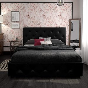 DHP Dakota Upholstered Platform Bed with Storage Drawers, Black Faux Leather Queen