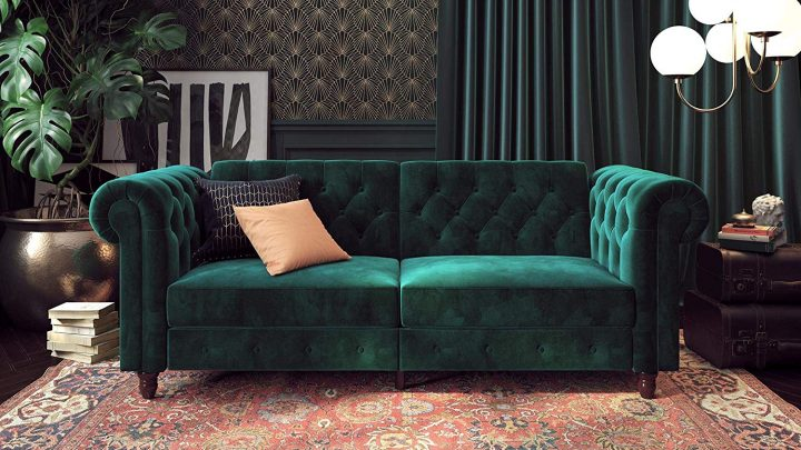 DHP Felix Chesterfield Sofa Futon Green