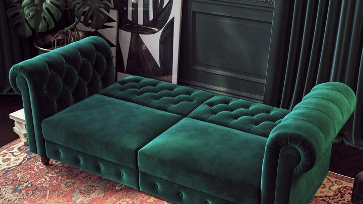DHP Felix Chesterfield Sofa Futon Green Velvet