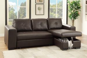 Leather SECTIONAL with Pull-Out Bed & Compartment in Espresso