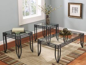 Ashley: Exeter Glass Top 3-Piece Occasional Table Set